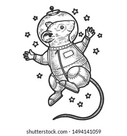 Mouse astronaut spaceman in space sketch engraving vector illustration. Tee shirt apparel print design. Scratch board style imitation. Black and white hand drawn image.