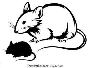 mouse black and white outline and silhouette