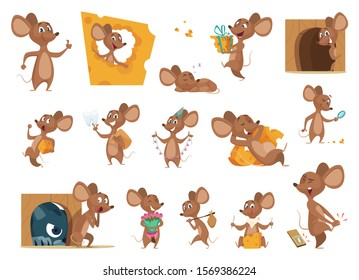 Mouse cartoon. Small mice in action poses lab animals friendly mascot pets vector characters