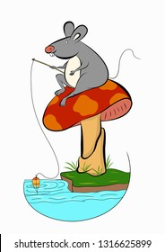 mouse catching fish. mouse illustration .mause on mushroom , vector illustration