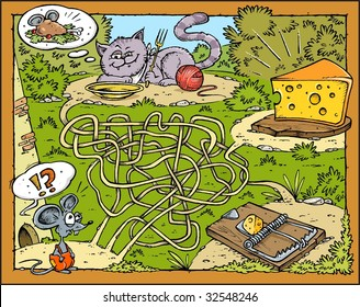 Mouse, Cheese, Cat and Trap - Labyrinth color