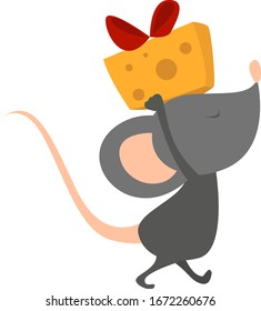 Mouse with cheese, illustration, vector on white background.
