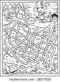 Mouse & Cheese Labyrinth - Black & White