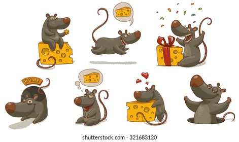 Mouse and cheese set, vector