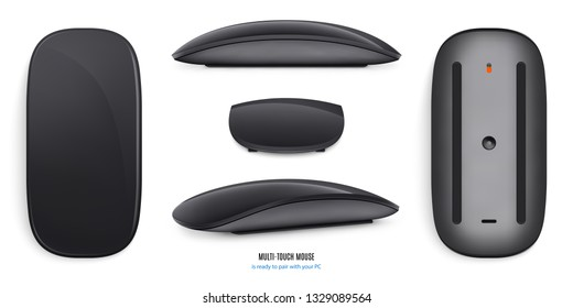 mouse for computer mockup black color on white background. stock vector illustration eps10