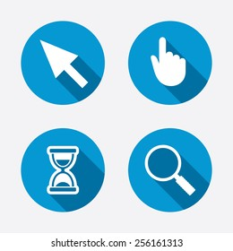 Mouse cursor and hand pointer icons. Hourglass and magnifier glass navigation sign symbols. Circle concept web buttons. Vector