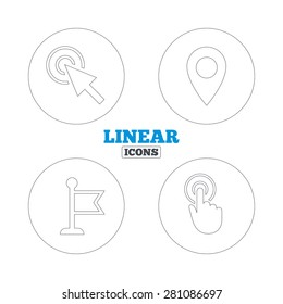 Mouse cursor icon. Hand or Flag pointer symbols. Map location marker sign. Linear outline web icons. Vector