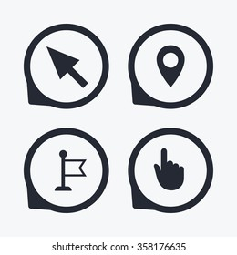 Mouse cursor icon. Hand or Flag pointer symbols. Map location marker sign. Flat icon pointers.