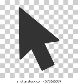Mouse Cursor icon. Vector illustration style is flat iconic symbol, gray color, transparent background. Designed for web and software interfaces.