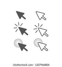Mouse cursor set. Arrow icon. Vector illustration.