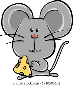Mouse eating cheese, illustration, vector on white background