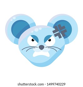 Mouse face angry emoticon sticker. Furious bully animal emoji, wounded rat with adhesive bandage