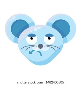 Mouse face sceptical emoticon sticker. Dissatisfied animal emoji, grumpy rat facial expression