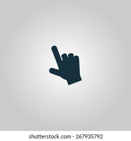 Mouse hand  cursor. Flat web icon or sign isolated on grey background. Collection modern trend concept design style vector illustration symbol