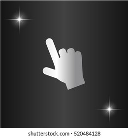 Mouse hand cursor. Silver flat vector icon on black background with star