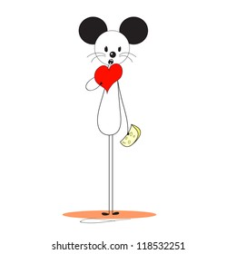 mouse has a heart instead of cheese