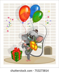 Mouse in a hat and sunglasses standing at the wall with flowers, balloons and gift