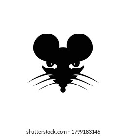 Mouse head mascot icon cartoon with  black and white color