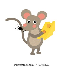 Mouse holding cheese animal cartoon character isolated on white background.