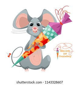 Mouse holding traditional German candy cone in the paws on the first school day. Alles Gute zur Einschulung! (Happy Enrollment!). Vector illustration