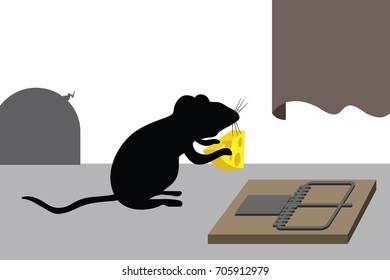 mouse holds cheese from mousetrap