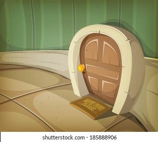 Mouse Home Inside House/ Illustration of a close view on a comic door entrance of mouse, elf or other small animal or creature character inside home interior