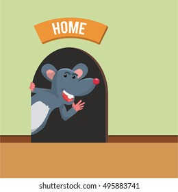 mouse home vector illustration design