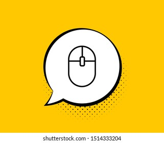 Ð¡omputer Mouse icon. Comic speech bubble. Internet surf device sign. PC equipment symbol. Yellow background with chat bubble. Computer Mouse icon. Colorful banner. Vector