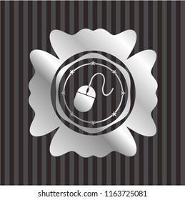 mouse icon inside silver shiny emblem