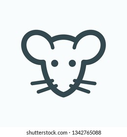 Mouse isolated icon, rat face linear vector icon