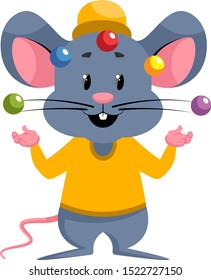 Mouse juggling, illustration, vector on white background.