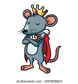 mouse like a king in white background vector eps