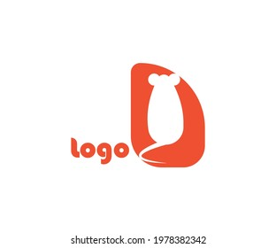 Mouse logo with ponytail in orange