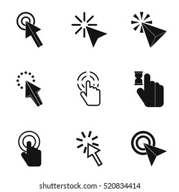 Mouse pointer click icons set. Simple illustration of 9 mouse pointer click vector icons for web