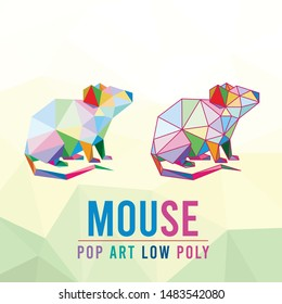 MOUSE RAT ANIMAL PET CHINESE ZODIAC SHIO YEAR POP ART LOW POLY LINE LOGO ICON SYMBOL. TRIANGLE GEOMETRIC POLYGON