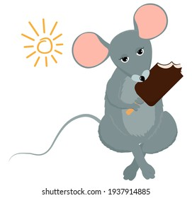 Mouse or rat holding popsicle ice cream. Cartoon vector mascot character isolated on white background.