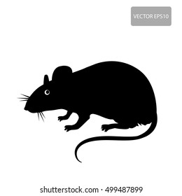 Mouse, Rat Vector Silhouette On The White Background. Rat Vector Disease. Harmful Rodent, Parasite. House Mouse Vector Drawing Home Parasite.