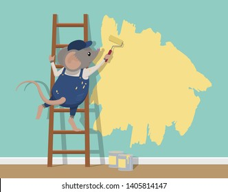 A mouse stands on a ladder painting a wall with a paint roller.