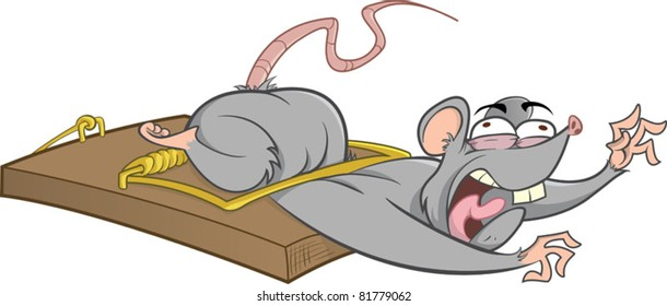 A mouse stuck in a mousetrap