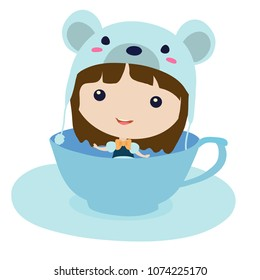 Mouse in teacup. Cartoon character clip art illustration on white background.