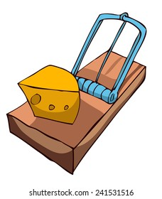 Mouse Trap With Cheese, Vector Illustration.