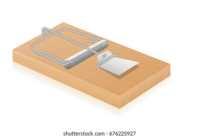 Mouse trap - classical vintage spring loaded bar trap - isolated vector illustration on white background.