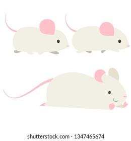 Mouse walking illustration set