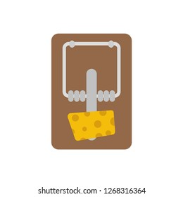 Mousetrap with cheese. Logo mousetrap. Vector illustration. EPS 10.
