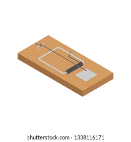 Mousetrap isolated. Mouse trap. Rodent snare. Vector illustration