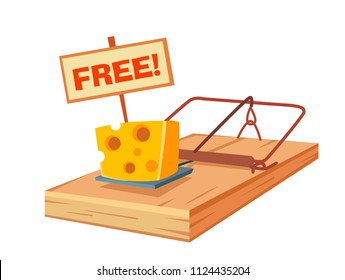 """mousetrap with a piece of cheese and  sign """"free!"""". freebies and trap. cartoon vector illustration."""