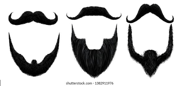 Moustache and beard. Man beards style, curly moustaches mask and vintage fake mustache isolated vector set