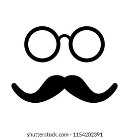 Moustache and Glasses Icon. Vector Image.