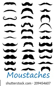 Moustache icons set isolated on white background. Suitable for barber logo, barber shop and retro design