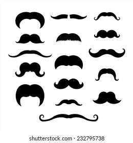 Moustache icons set isolated on white background